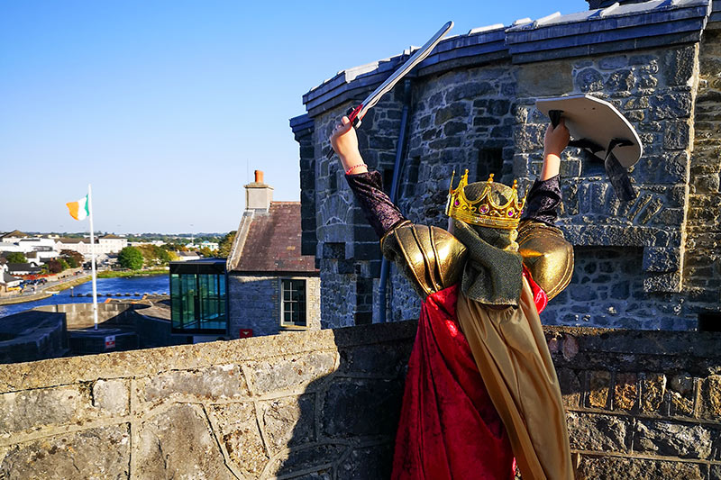 A young king looks down upon the castle courtyard at Athlone Castle