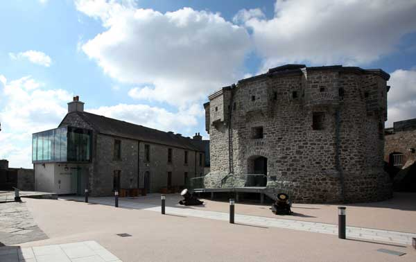 Athlone Castle keep surrounded by blue skies on another glorious bright and sunny day in the castle courtyard.