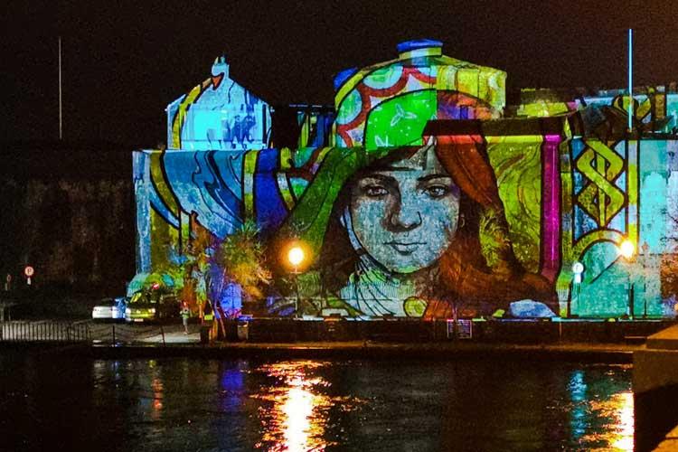Herstory Light Show illuminating Athlone Castle