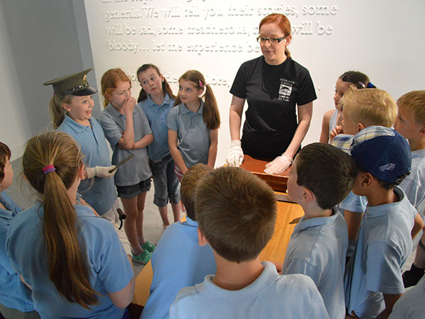 Joanna guiding a school tour